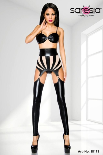 Wetlook garter set by Saresia