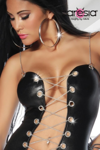 Wetlook Dress with Chain